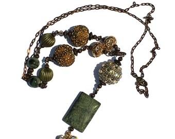 Earth tones Long Boho Necklace Y Necklace