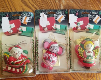 Three (3) NIP, New Old Stock Christmas Package Decorations, Stribbons Snap Ons
