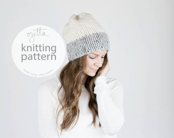 Knitting Pattern / Two-Tone Slouchy Knit Hat / THE FRONTIER Hat