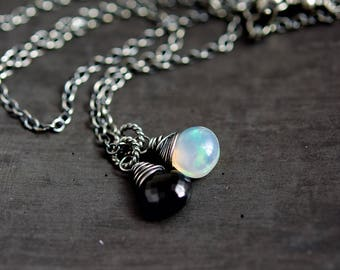 Styx Necklace, Onyx Necklace, Opal Necklace, October Birthstone, Opal Pendant, Wire Wrapped, Sterling Silver,