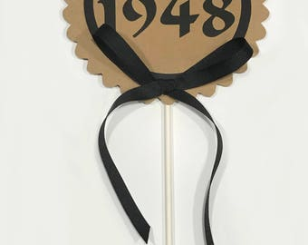 70th Birthday - Vintage 1948 Cake Topper Decoration, Candy Pick, Black and Kraft Brown or Your Choice of Colors