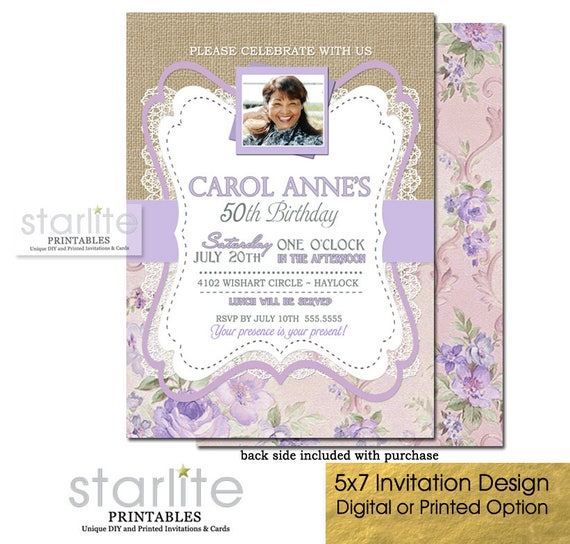 50th Birthday Invitation With Photo Floral