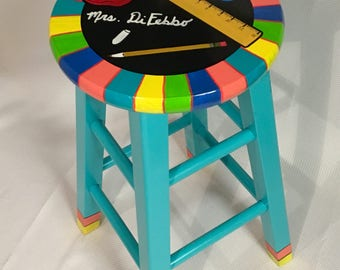 """Teacher Chair //29"""" Whimsical Painted Furniture, Teacher gift,  Painted Bar Stool // Teacher Theme Stool // Custom painted stool"""""""