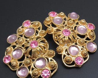 Large Rhinestone Earrings Jose Barrera Avon Vintage Jewelry