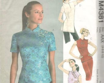 McCalls 4381 Asian Inspired Misses Tops Pattern Two Lengths Sleeve Variations Womens Sewing Pattern Size4 6 8 10 Bust 29 30 31 32 UNCUT