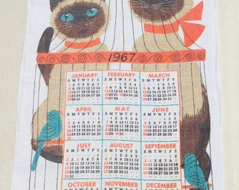 Vintage 1967 Calendar Towel Wall Hanging Siamese Cats Outside a Birdcage See a Butterfly