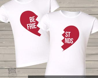 Best friend matching heart set of two GIRLS CUT shirts - sweet shirts for sisters  BFFS
