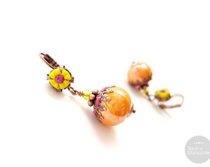 Dangle earrings chartreuse polymer clay, orange greek ceramic