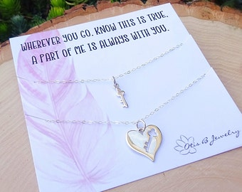 Sentimental gift set for Mother & Daughters, Key to my heart matching necklace set, back to school, first day of kindergarten, Otis B