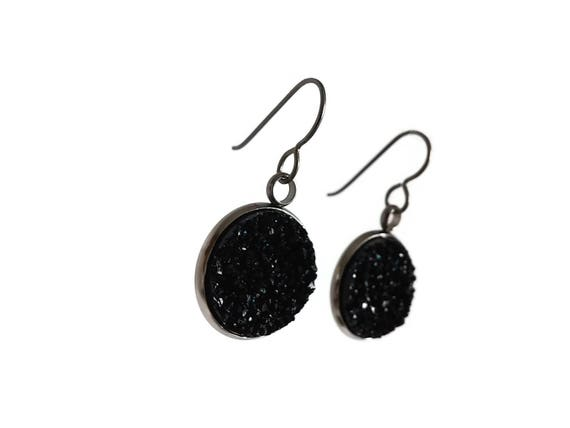 Black druzy dangle earrings - Hypoallergenic pure titanium, stainless steel and acrylic druzy jewelry