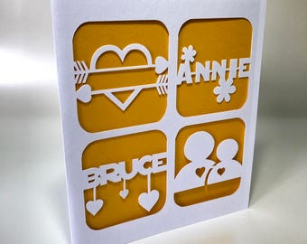 Custom Name Love Paper-cut Card