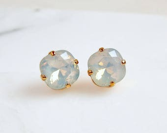 White opal and rose gold earrings - rose gold post earrings - designed with Swarovski crystals - opal earrings