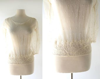 Vintage Edwardian Blouse | Floral Embroidered Top | 1910s Blouse | Small S