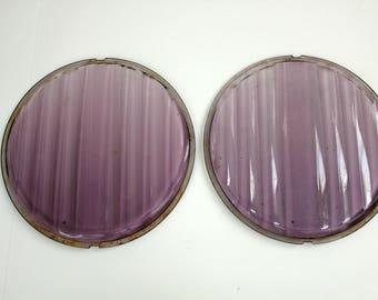 2 Purple Bausch & Lomb Headlight Lenses, Auto Car Head Light Lamp Glass Covers