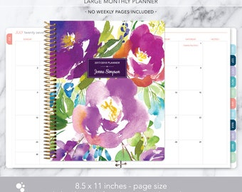 8.5x11 MONTHLY PLANNER notebook | 2017 2018 no weekly view | choose your start month | 12 month calendar | violet watercolor floral