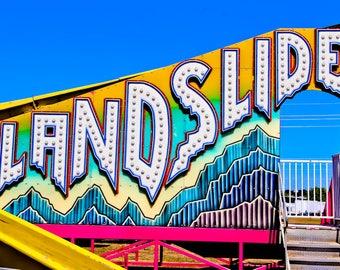 Landslide Neon Carnival Fine Art Print- Carnival Art, County Fair, Nursery Decor, Home Decor, Children, Baby, Kids