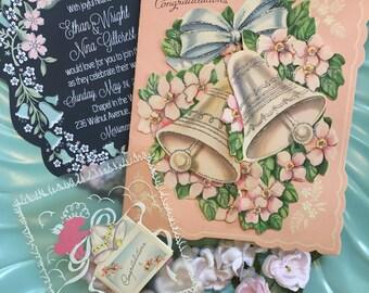 Vintage Wedding Greeting Cards, Vintage Wedding Bells, Vintage Cherub, Midcentury Wedding Cards, 1940s