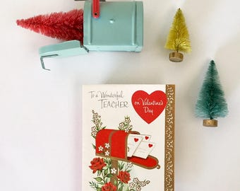 Sweet Vintage 1950s Valentine Card with Mailbox, Valentine for Teacher, Roses, Hearts, Valentine Mail, Gold Ink, Embossing, NOS