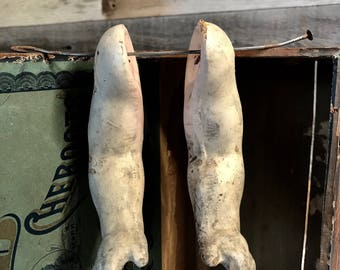 Antique Large Composition Doll Parts Arms Vintage Doll with Distressed Worn Patina Oddity Scary Doll Parts- G10