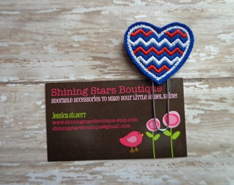 Holiday Planner Clips - Red, White, & Dark Blue Patriotic Chevron Heart Paperclip Or Bookmark - Accessories For Planners, Calendar, Or Books