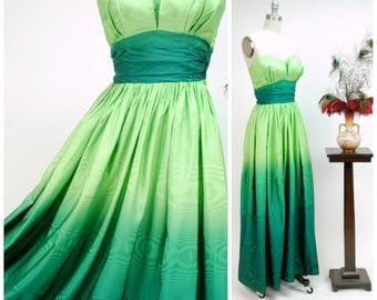 Vintage 1950s Dress - Incredible Lime to Deep Emerald Green Ombre Strapless 50s Evening Gown of Watered Taffeta