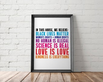 Protest Art Print, Resist Printable, Pride Poster, In This House, Resist March, Anti Trump Printable