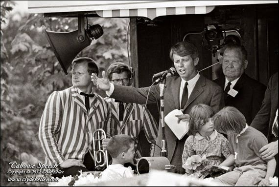 RFK CABOOSE SPEECH, Robert F. Kennedy, Clyde Keller 1968 Photo