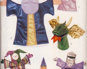 PUPPET Sewing Pattern - 6 Hand Puppets & Stage Curtain