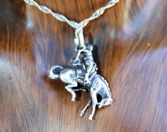 SALE... Vintage Sterling Silver - 3D  Bronco  Rider on Rodeo   Pendant  - Charm Pendant