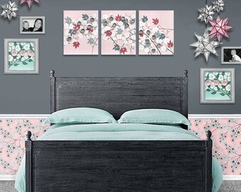Girl Nursery Art Canvas Pink and Gray Flower Painting Triptych - Large 50x20