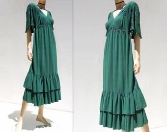 Angel Sleeve Dress Forest Green Dress Bell Sleeve Dress 90s Plus Size Dress Vintage Midi Dress Embroidered Dress Boho Festival Dress xl, 1x