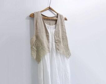 Vintage Vest Women Embroidered Vest Lace Vest Slavic Linen Vest Natural Linen Beige Linen Bohemian Boho Summer