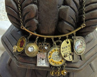 Trash to Treasure Assemblage Necklace - Vintage Charm Necklace - Assemblage Necklace