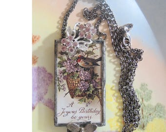 Joyous Birthday, Soldered Assemblage Birthday Necklace, One Of A Kind Necklace - REDUCED