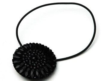 Black Ponytail Holder, Vintage Pressed Glass Button, Stylized Sunflower Flower Design, Decorative Elastic Hair Tie, Victorian Style, Glamour