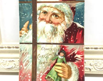 Vintage Christmas Postcard, Vintage Postcard, Santa Postcard, Christmas Card, Christmas Ephemera, Santa in WIndow with a Doll, Tuck Postcard