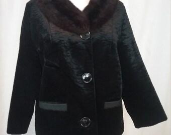 Vintage Crushed Velvet Jacket with Mink  Collar