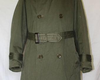 Vintage Military Hooded Overcoat, Coyote Fur hood Liner, 1950's