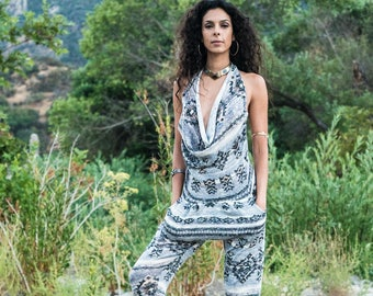 Harem pant Onesie  ~ Romper ~ Playa Fashion ~ Hooping Clothes ~ Women's Burning Man Jumpsuit ~ Convertible Romper turns into pants