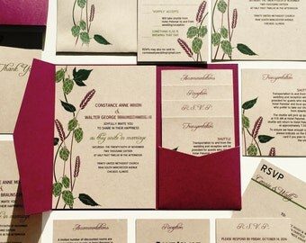 Hops and Barley Wedding Invitation, Rustic Brewery Wedding Invite, Beer Wedding Invitations, Burgandy Red, Green Kraft Paper Plum Pocketfold