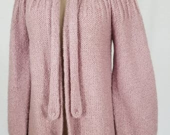 1970s Sweater // 70s Vintage Cardigan Sweater // 70s Mohair Cardigan // Mauve Mohair // 1970s Clothing // Size Medium // Size Large // XL