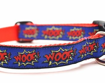 WOOF! Royal Blue and Red Dog Collar / Cartoon Collar / Martingale or Buckle