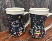 Reserved for Terry / Space Guy Mugs /  gifts for geeks / Robots and Astronaut / Set of 2