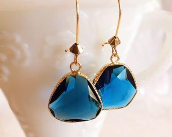 Blue Drop Earrings - Dangle Earrings - Modern - Jewelry Gift - SONATA Blue