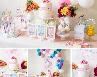 Unicorn Party Decorations, Unicorn Birthday Party Decor, Unicorn Party, Unicorn Party Kit, Girl Birthday Theme, High Resolution PDF files
