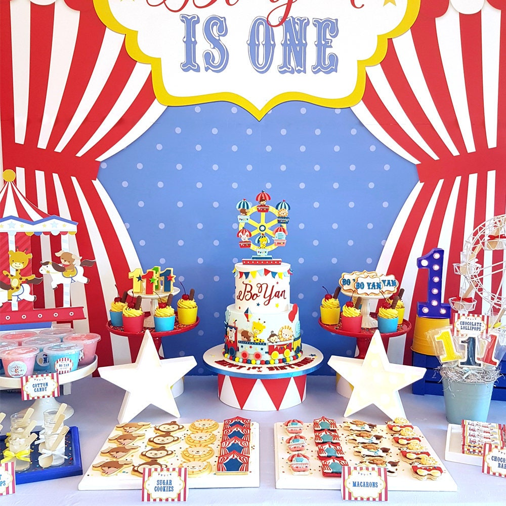 Digital party kit carnival animals decorations party kit - Carnival theme party supplies ...