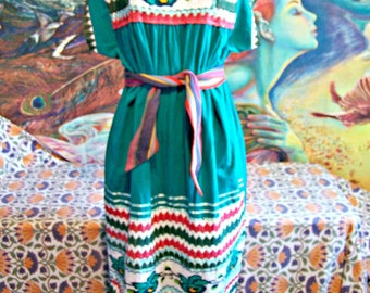 Mexican Dress, Embroidered Mexican, Teal Mexican dress, Cinco de Mayo, Frida Kahlo, size L