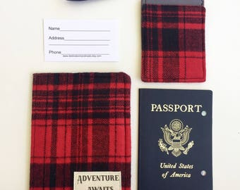 Passport Cover, Passport Wallet, Adventure Awaits, Father's Day Gift for the Adventurer Luggage Tag and Passport Holder