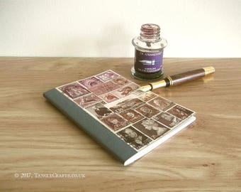 Mauve Brown Pocket Month Planner Notebook, Original Collage Cover