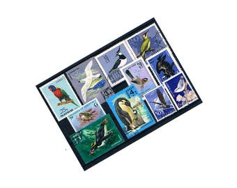 Bird Stamps in Blue | Postal Stamps - magpie, penguin, eagle, gull, woodpecker etc | postal stamp collection, papercraft, cards, decoupage